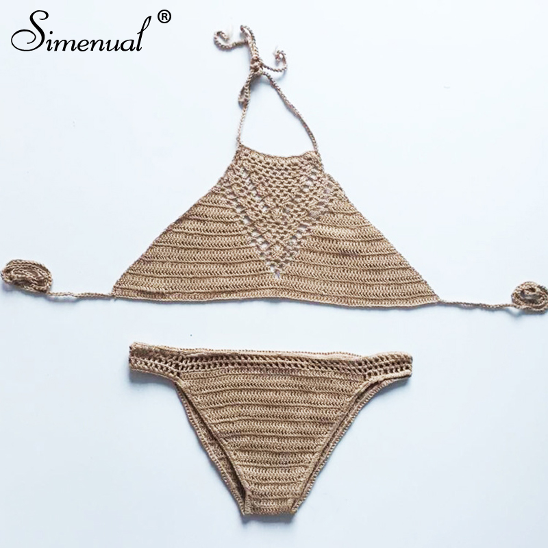 Simenual Crochet Handmade Tankini Summer BOHO Beach Sets Hollow Out Sexy Hot Bandage Women Beachwear Vintage Pareos Backless