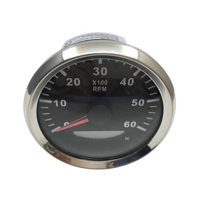 "3-3/8 ""Tacho ساعة متر مقياس سرعة الدوران مقاوم للماء الاستقرائي 0-6000RPM 9-32V مع الخلفية الحمراء لقارب مقياس سرعة الدوران البحرية"