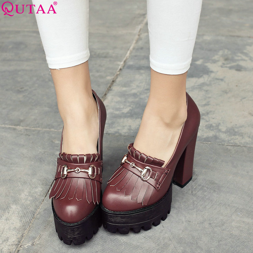 ФОТО QUTAA 2017 Women Pumps Summer Ladies Shoes Square High Heel Tassel Round Toe Platform PU Leather Woman Wedding Shoes Size 34-42