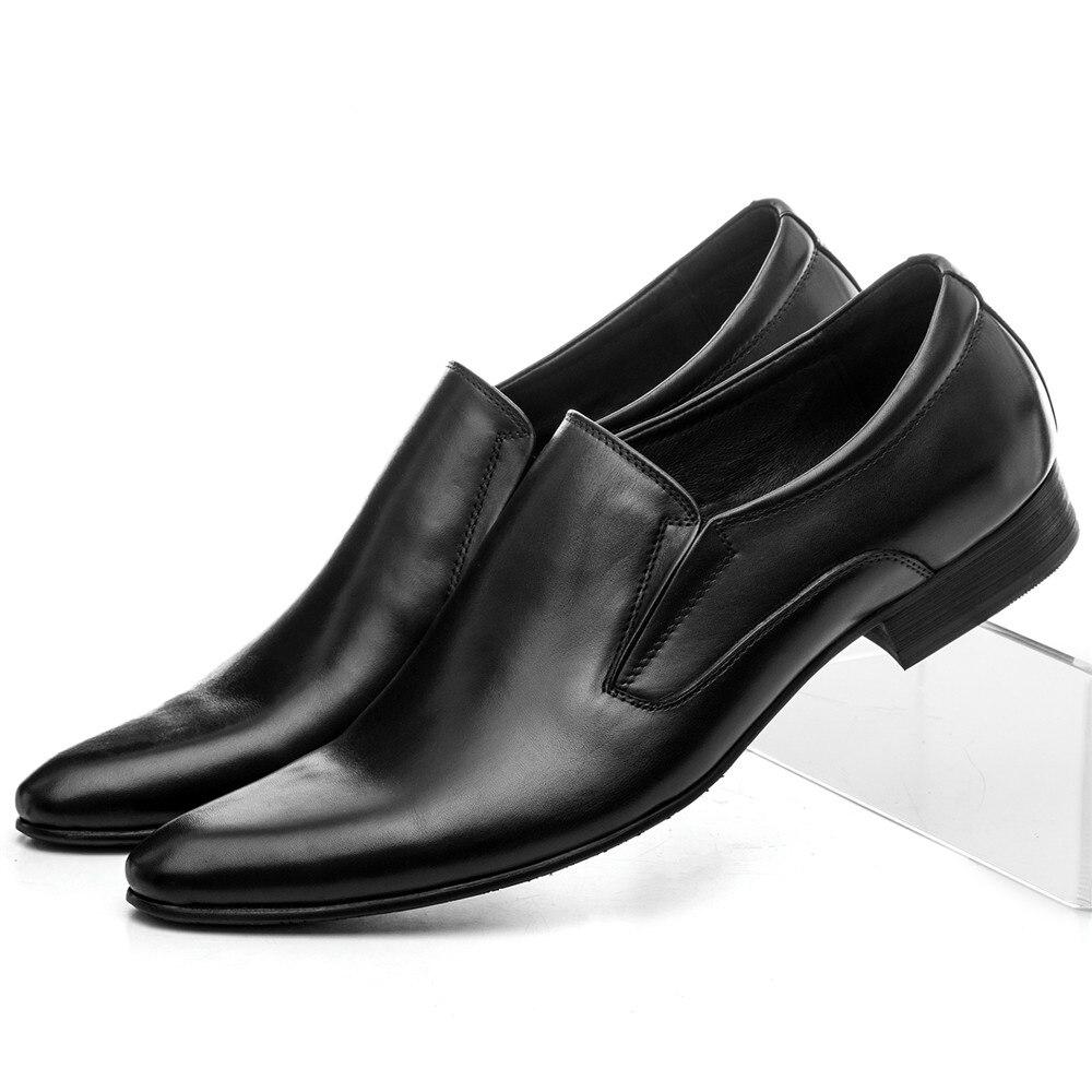 Larege size EUR45 Black brown tan brown formal dress shoes mens wedding shoes genuine leather loafers