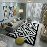 High Quality Brand Carpets Bedroom Area Rugs Washable Mat Black White Rectangle Carpet Living Room Geometric