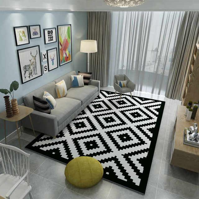 Kualitas Tinggi Merek Karpet R Tidur Tikar Dicuci Hitam Putih Geometris Dekorasi Gi Panjang