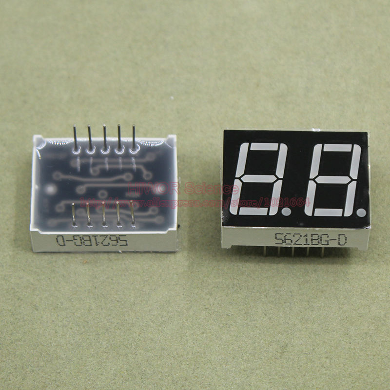 (10pcs/lot) 10 Pins 5621BG 0.56 Inch 2 Digits Bits 7 Segment Green LED Display Common Anode Digital Display