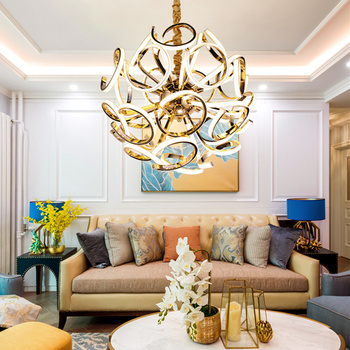 Modern Silver Gold Multihead Round Art Ball Pendant Lamp Designer Creative Droplight For Villa Hotel Living Room image