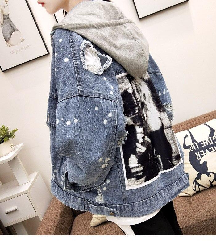 Blue 2018 Nouvelle Deanim Coréenne Et Capuche Outwear Mode Manches Longues À Lâche Trou L699 Cowboy Veste Fille Printemps Automne Patch RH8E8qfw