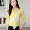 Mulheres Camisas Blusas de escritório Elegante da Manta Das Senhoras Blusa de Chiffon de Manga Curta Partes Superiores das mulheres Desgaste do Trabalho de Escritório Elegante Chemise Femme