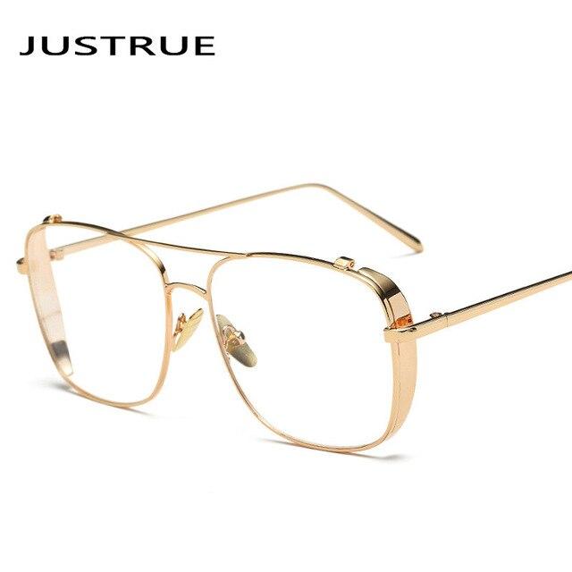 5d5dc1a2140 JUSTRUE Fashion Square Eyeglasses Oversized Metal Frame Clear Transparent  Lens Glasses Women Men Vintage Optical Eyeglasses