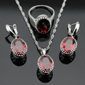 Made in China Red Created Garnet Silver Color Bridal Jewelry Sets For Women Necklace Pendant Earrings Rings Free Gift Box