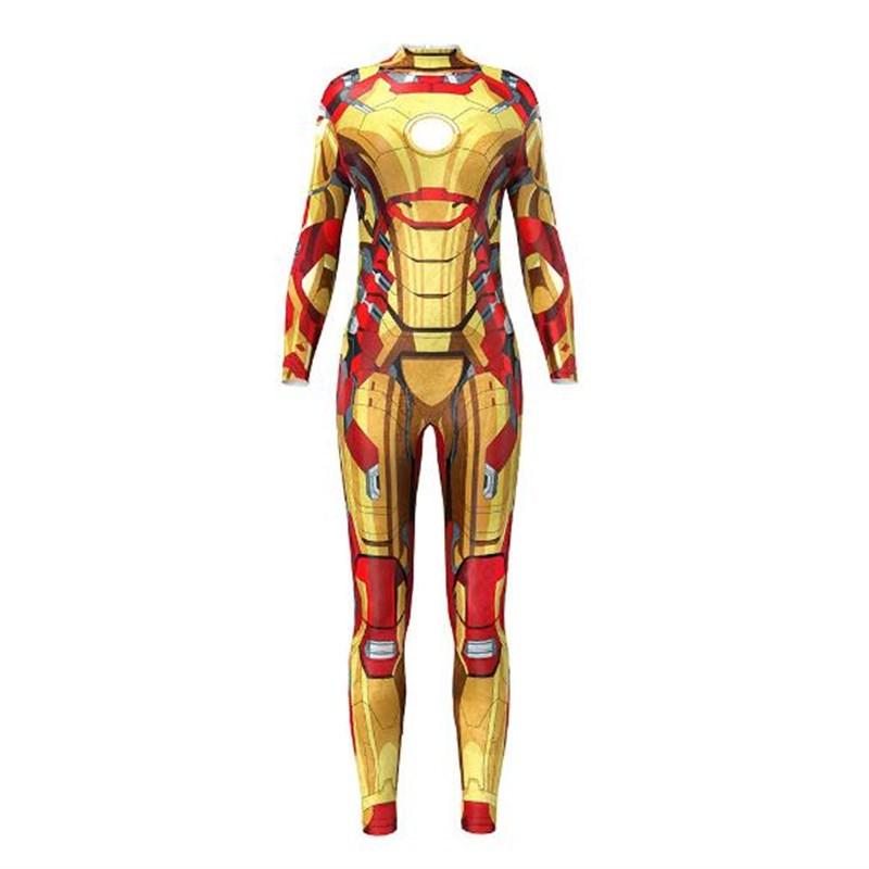 Comic Superhero Iron Man Cosplay Fitness Jumpsuit Women Hipster 3D One Piece Tracksuit Workout Rompers Bodysuit Female