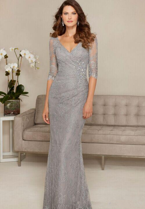 Backless 2019 Mother Of The Bride Dresses Mermaid V-neck Half Sleeves Lace Beaded Formal Groom Long Mother Dresses For Wedding