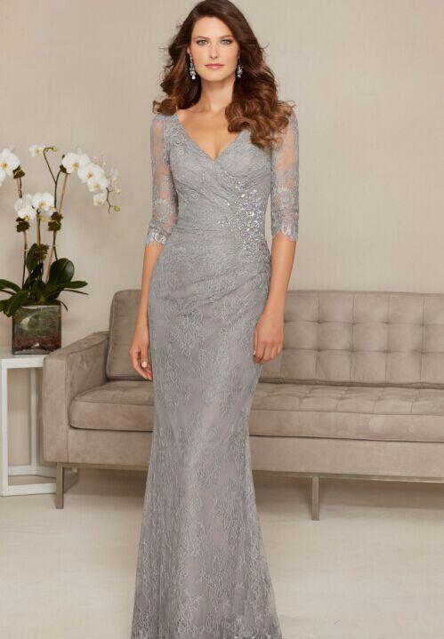 Backless 2019 Mother Of The Bride Dresses Mermaid V-neck Half Sleeves Lace Beaded Formal Groom Long Mother Dresses For Wedding