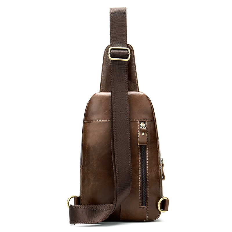Leather satchel retro single shoulder chest satchel headphone jack cross body bag for men in Waist Packs from Luggage Bags