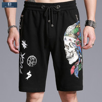 [EL BARCO] Cotton Knee Length Skull Print Men Summer Casual Shorts Bermuda Zipper Pocket Male Straight Black Short Trousers