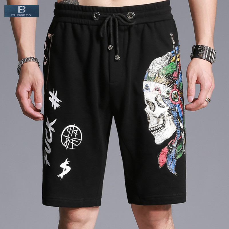 el Barco 2017 High Quality Cotton Skull Print Summer Men Casual Shorts Knee-length Pocket Straight Soft Blue Red Male Trousers Casual Shorts
