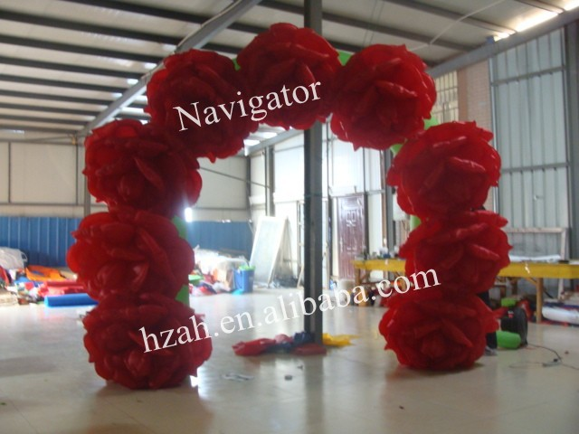 Red Inflatable Flowers Arch for Wedding Decoration commercial sea inflatable blue water slide with pool and arch for kids
