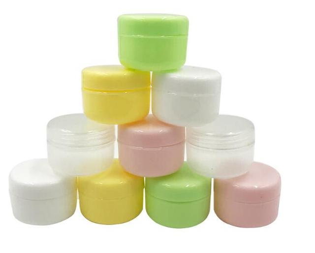 Bocaux rechargeables vides en plastique, pots de maquillage de voyage, crème pour le visage/Lotion/contenant cosmétique 5 couleurs, 20g, 5 pièces/lot