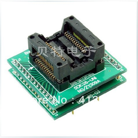 Block SOIC28 ucos dedicated IC programming, ZY309A test socket programming adapters ic qfp32 programming block sa636 block burning test socket adapter convert