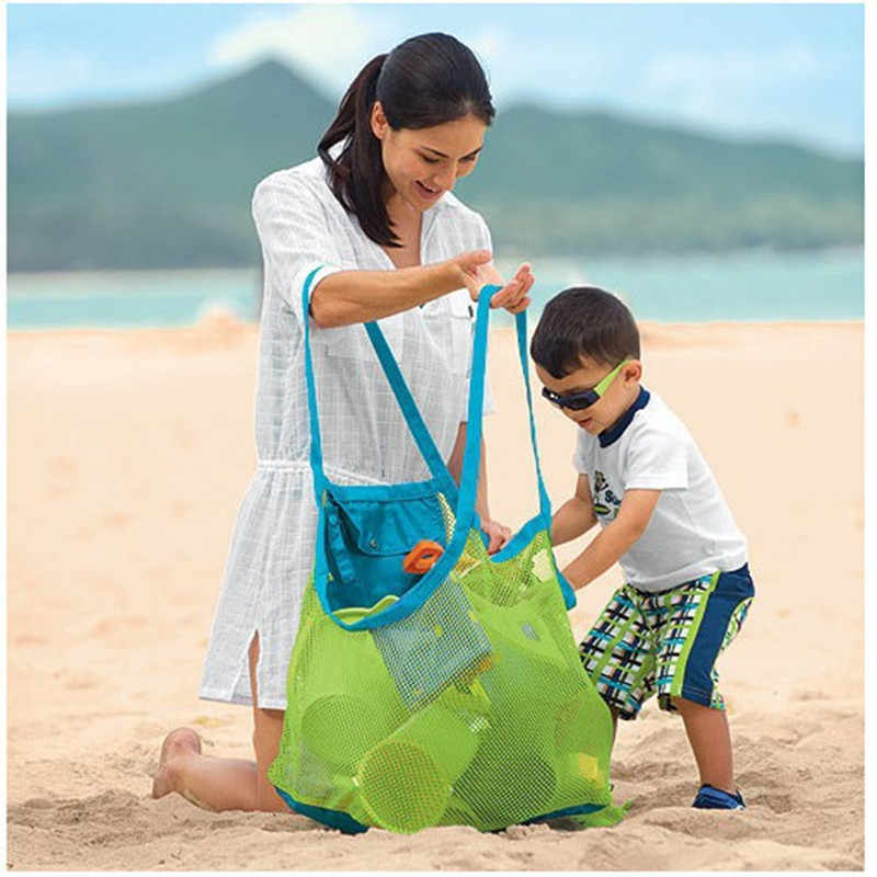 1PC Foldable Beach Bag Kids Children Mesh Storage Bag Oxford Cloth Beach Toy Baskets Storage Bag Sand Away Carry Beach Totes