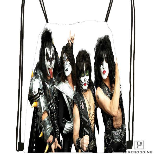 Custom KISS-Monster-  Drawstring Backpack Bag Cute Daypack Kids Satchel (Black Back) 31x40cm#20180611-02-68