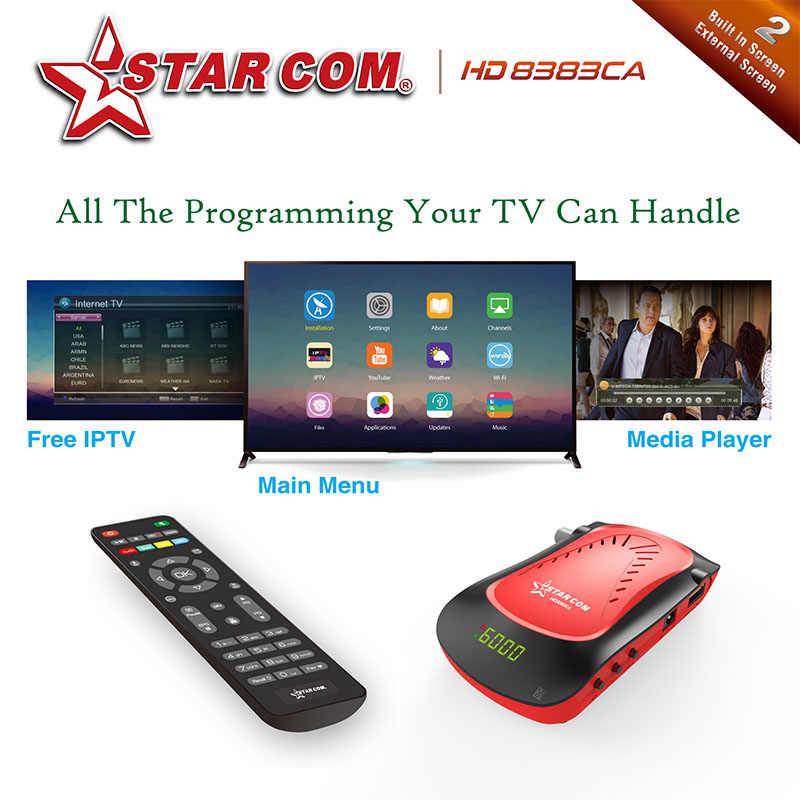 Starcom HD8383 Satellite Receiver Supoort CA Free Arabic IPTV DVBS2 Full HD  Digital TV BOX With YOUTUBE Satellite TV Receiver