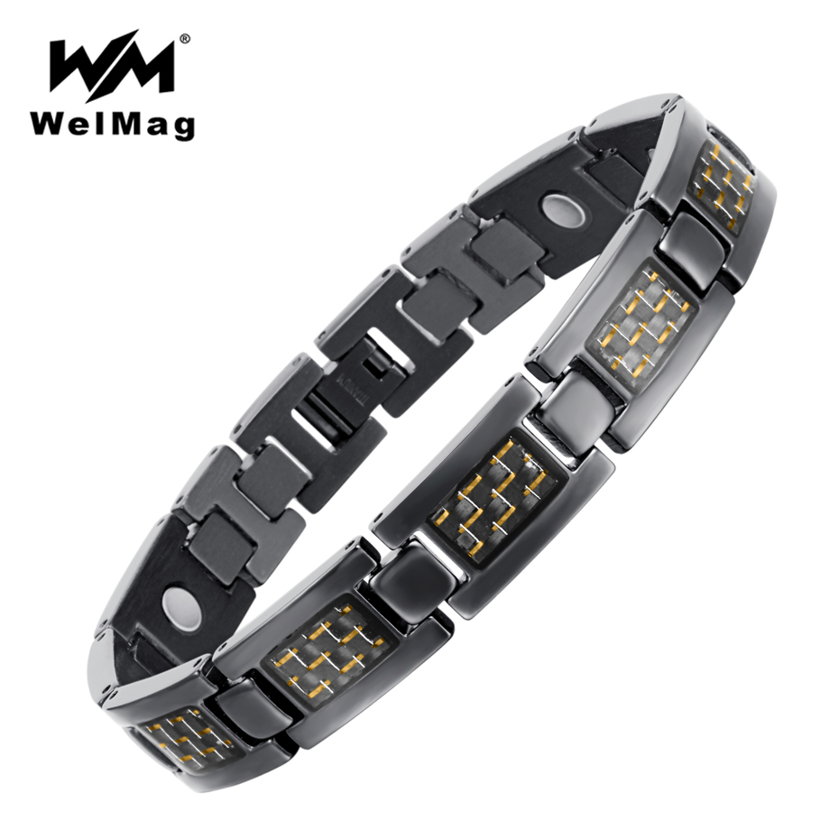 Carbon Fiber Diamontrigue Jewelry: WelMag Men's Yellow Carbon Fiber Titanium Bracelets