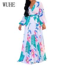 WUHE Chiffon High Elastic Waist Party Dress Women Full Sleeve Flower Print Floral Bohemian Female Vestido Plus Size XXL