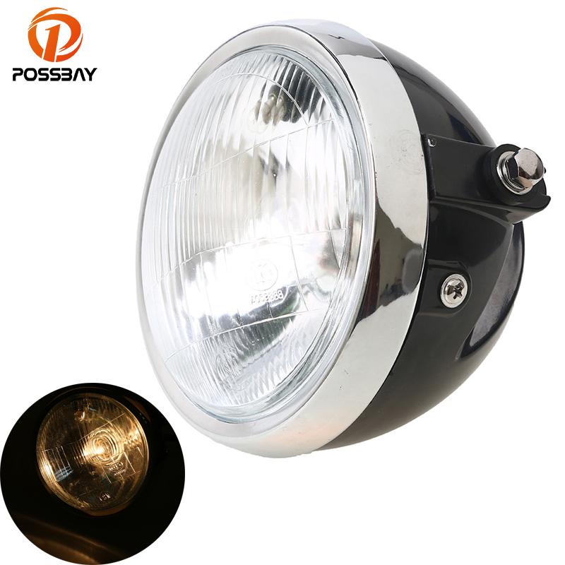 POSSBAY Retro Motorcycle Headlight Amber Light For Yamaha Suzuki Harley Honda CG125 Cafe Racer Bobber Motocicleta Lamp Light