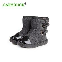 GARYDUCK 2017 Nouveaux Enfants de Mode D'hiver Bottes de Neige Antidérapant Épais Coton Plus de Velours Bottes Enfants Chaussures Filles/garçons Bottes