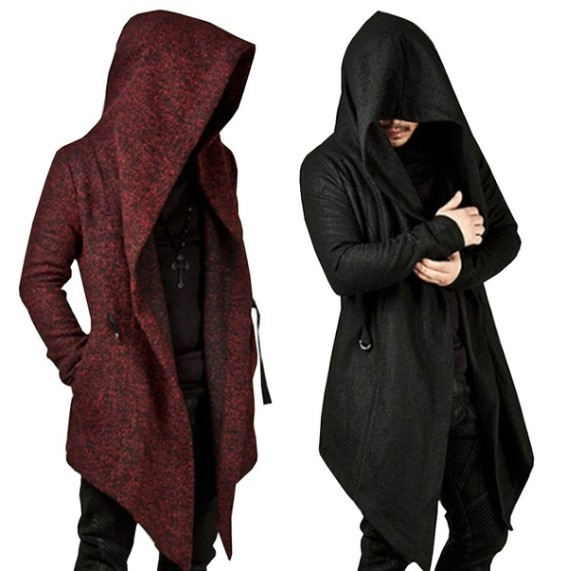 Outwear Coat For Men Long Trench Coats Hooded Autumn 2019 Gothic Casual Long Sleever Coat Men Irregular Men's Trench With Hat
