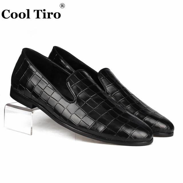 22058b3a7 Cool Tiro Black Crocodile Loafers Slippers Men s Moccasins Genuine Leather  Casual Shoes Slip on Flats Wedding