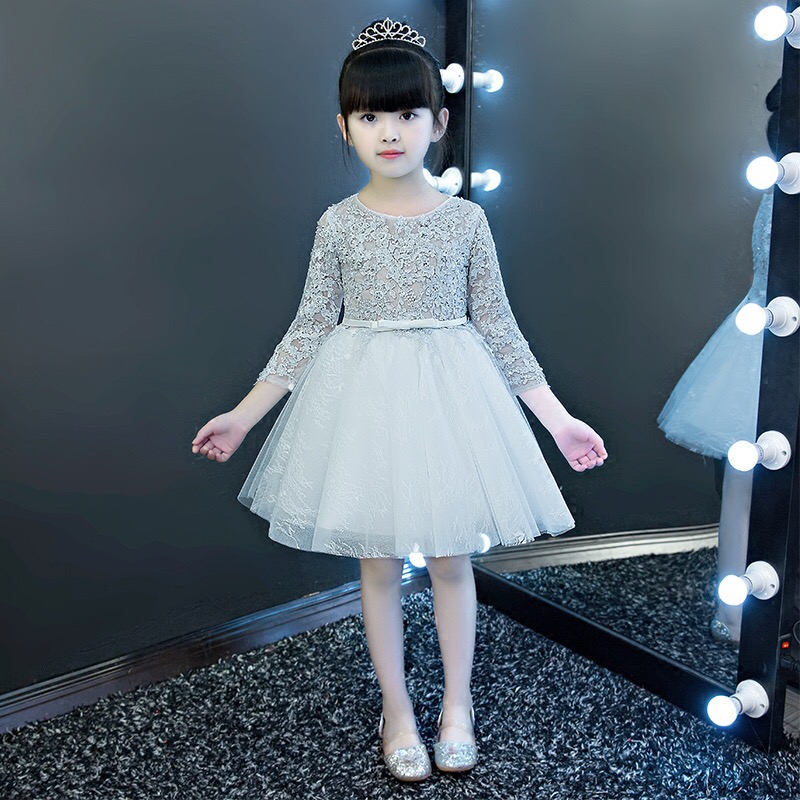 2017 New High Quality Children Girls Grey Color Princess Lace Dress Kids Babies Birthday Evening Party Ball Gown Mesh Tutu Dress new high quality children girls red color shoulderless princess dress kids birthday wedding party mesh dress school player dress