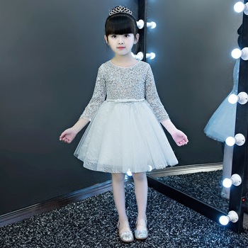 2020New High Quality Children Girls Grey Color Princess Lace Dress Kids Babies Birthday Evening Party Ball Gown Mesh Tutu Dress