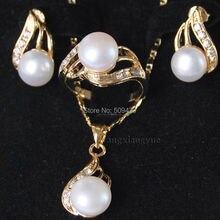 > настоящий белый Akoya культивированный жемчуг кольцо серьги ожерелье кулон набор AAA