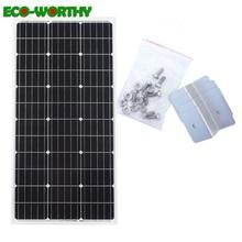 ECOworthy 100W סולארית מונו פנל מערכת: 100w 18V monocrystalline פנל עם 4pcs Z סוגריים עבור 12V סוללה soalr מטען