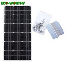Ecoworld 100W mono panel de energía solar sistema: 100w 18V monocristalino panel con 4 Uds soportes Z para cargador solar de batería 12V