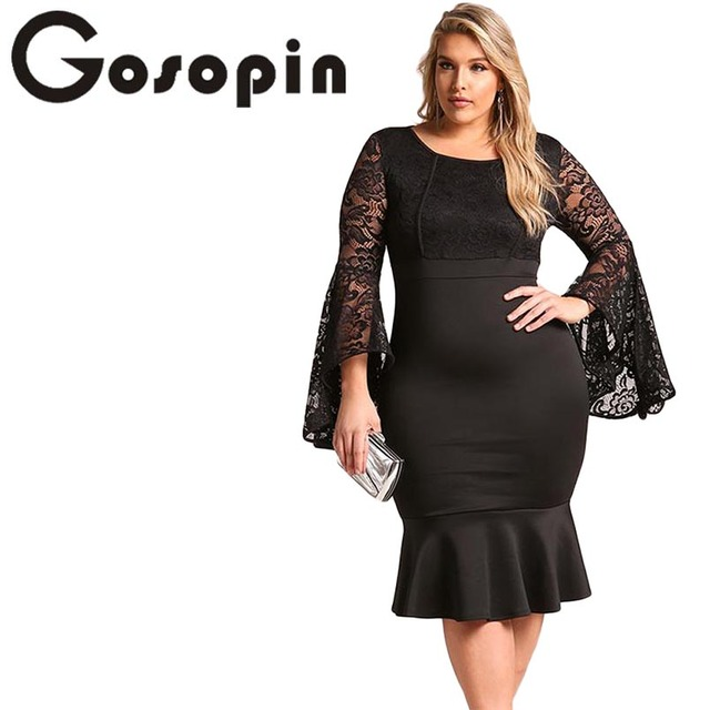 Gosopin Plus Size Club Dress Lace Butterfly Long Sleeve Dresses