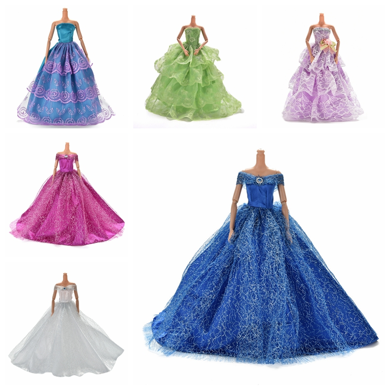Elegant Summer Clothing Gown For Babi Doll Handmake Wedding Princess Dress Beaty Doll Party Dress 7 Colors