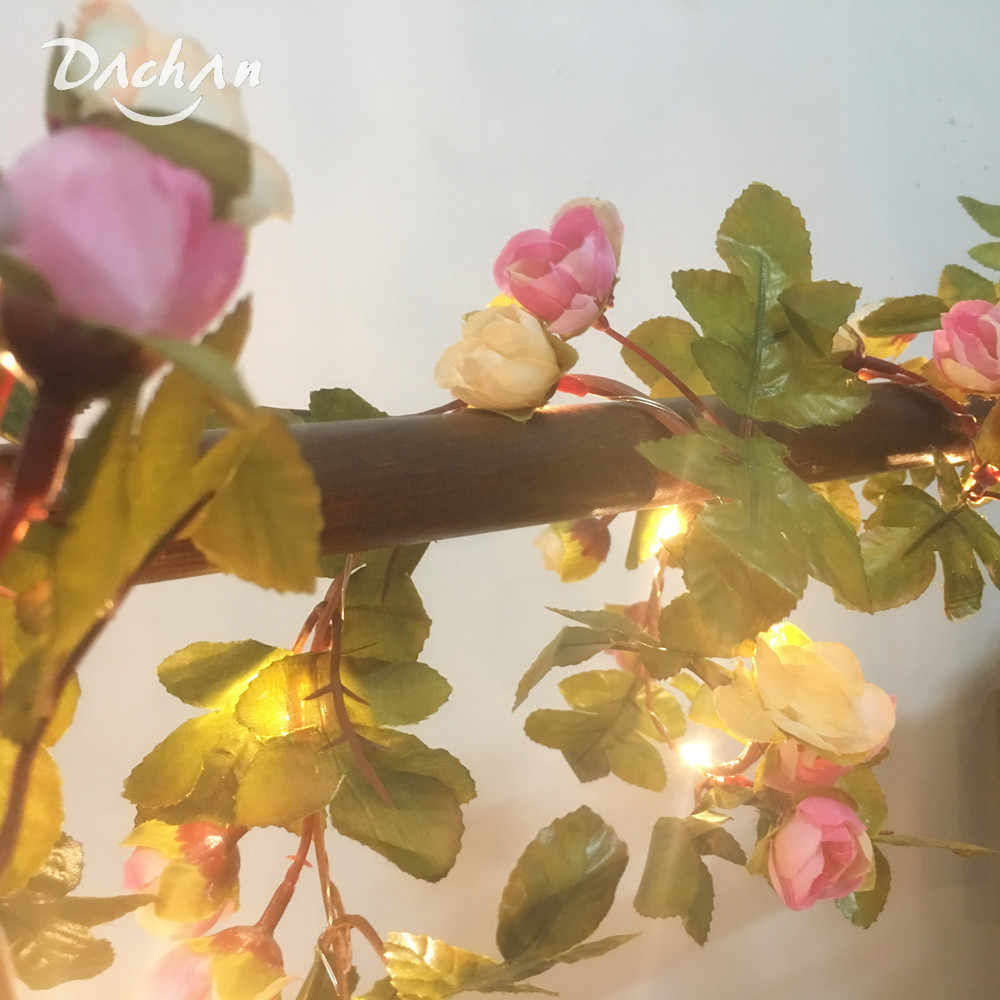 HANDMADE 2.2M 25 LEDs Pink Rose Flower Garland Copper Warm LED Fairy String Lights For Christmas Wedding Decoration Party Event