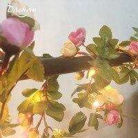 Guirnalda de flores rosa hecha a mano, guirnaldas de luces LED cálida de cobre para Navidad, boda, fiesta, evento, 25 LED, 2,2 M