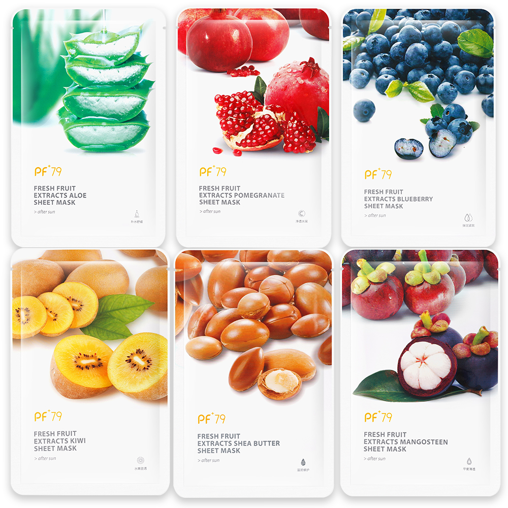 PF79 Facial-Mask Kiwi Aloe-Sheet Skin-Care Shea-Butter Fruit Pomegranate Mangosteen Blueberry