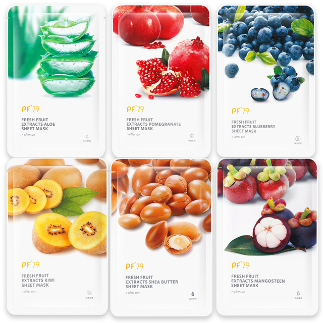 PF79 Skin Care Six Fruit Facial Mask Shea Butter Mangosteen Blueberry Pomegranate Kiwi Fruit Aloe Sheet Mask Face Mask