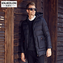 Enjeolon Brand Cotton Padded Hooded Jacket Men Waterproof,Parka Men Clothing Thick Quilted long type Coat Men free ship MY0281
