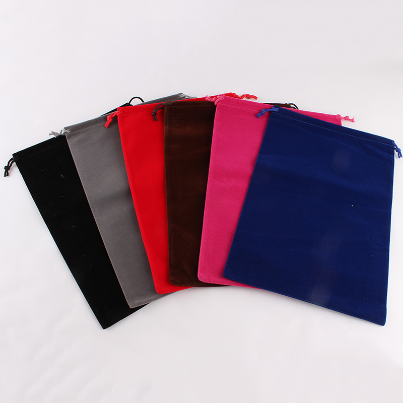 10pcs/lot 20*30cm Customized Logo Mixed-Color Printed Wedding Velvet Drawstring Pouch Packing Bags Christmas Gift