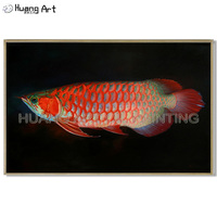 Pure Hand painted Realistically Gold Arowana Oil Painting for Wall Decor Art High Quality Red Fish Animals Seascape Oil Painting