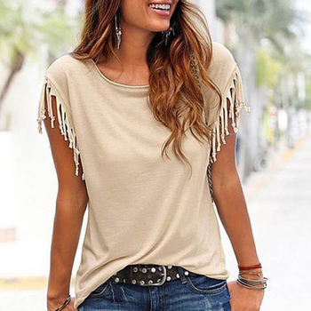 Women Cotton Tassel Casual T-shirt Sleeveless Solid Color Tees Tops Short Sleeve O-neck Female Clothing T Shirt Plus Size Tshirt