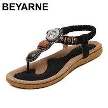 BEYARNE/Новые летние сандалии на плоской подошве; Женские летние пляжные вьетнамки в богемном стиле; Женская обувь; Scarpe Donna Zapatos Mujer Sandalias