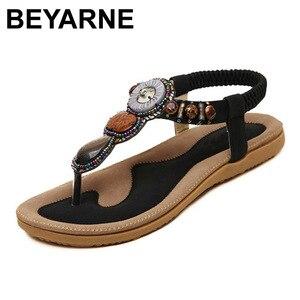 Image 1 - BEYARNE חדש קיץ סנדלים שטוחים גבירותיי קיץ בוהמיה חוף כפכפים נעלי נשים Scarpe דונה Zapatos Mujer Sandalias