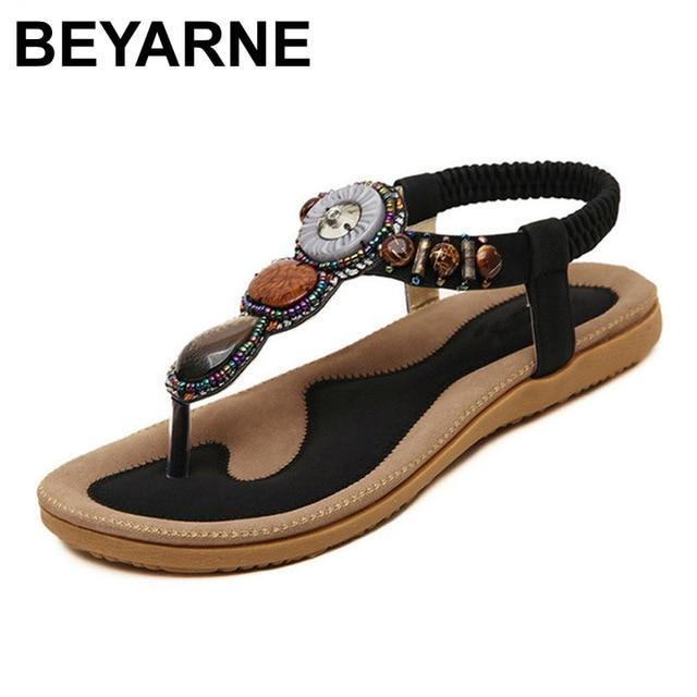 BEYARNE חדש קיץ סנדלים שטוחים גבירותיי קיץ בוהמיה חוף כפכפים נעלי נשים Scarpe דונה Zapatos Mujer Sandalias