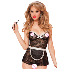 FGirl Halloween Costumes for Women Sexy Adult New Year Costume One Size Black Sexy 4pcs House Call Babydoll Set FG10885