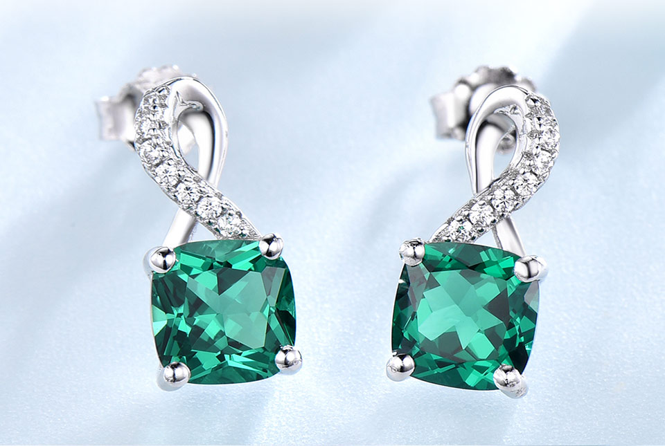 UMCHO Created Nano Emerald  925 sterling silver clip earrings for women EUJ091E-13